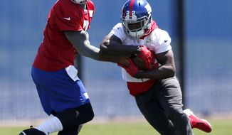 New York Giants quarterback Josh Freeman, left, hands off to running back David Wilson during an NFL football organized team activity, Thursday, May 29, 2014, in East Rutherford, N.J. (AP Photo/Julio Cortez)