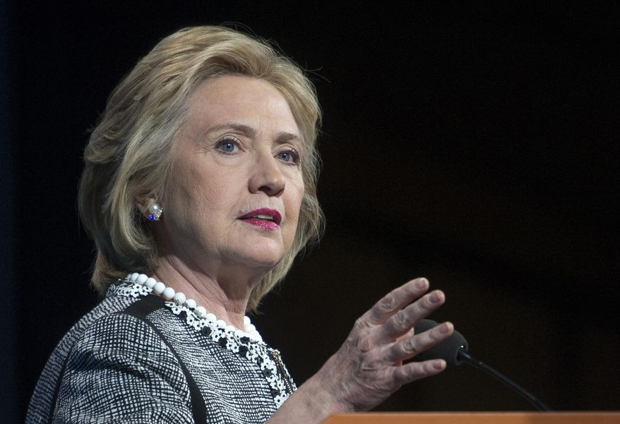 ** FILE ** This May 14, 2014, file photo shows former Secretary of State Hillary Rodham Clinton speaking in Washington. (AP Photo/Cliff Owen, File)