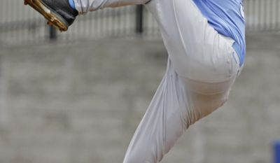 North Carolina pitcher Trent Thornton throws against Long Beach State during the third inning in an NCAA college baseball regional tournament game in Gainesville, Fla., Friday, May 30, 2014. (AP Photo/John Raoux)