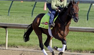 ADVANCE FOR WEEKEND EDITIONS, JUNE 1-2 - FILE - In this May 1, 2014 file photo, exercise rider Simon Paine takes Kentucky Derby entrant Samraat for a morning workout at Churchill Downs in Louisville, Ky. California Chrome's bid to become racing's first Triple Crown winner in 36 years isn't scaring away the competition. Horses are lining up to challenge the Kentucky Derby and Preakness winner in the Belmont Stakes next weekend.  (AP Photo/Morry Gash, File)