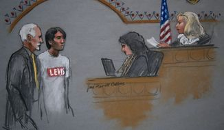 In this courtroom sketch, Khairullozhon Matanov, second from left, with attorney Paul Glickman, left, appears in federal court before Magistrate Judge Marianne B. Bowler, right, Friday, May 30, 2014, in Boston. Matanov, a friend of the brothers suspected of carrying out the 2013 Boston Marathon bombings, faces federal charges he destroyed, altered and falsified records, and made false statements to obstruct the investigation into the bombings. Matanov, arrested Friday morning at his apartment in Quincy, Mass., is a legal resident of the U.S. originally from Kyrgyzstan. (AP Photo/Jane Flavell Collins)