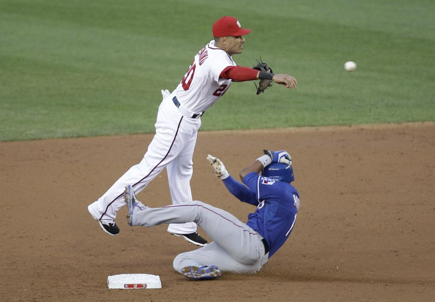 Texas Rangers' Elvis Andrus, right, is forced out at second base as Washington Nationals shortstop Ian Desmond attempts a double play during the third inning of a baseball game on Friday, May 30, 2014, in Washington. (AP Photo/Luis M. Alvarez)