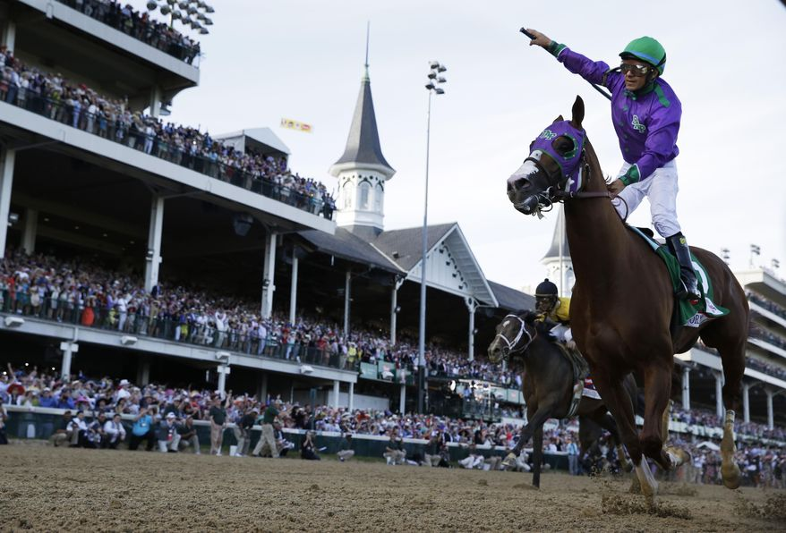 ADVANCE FOR WEEKEND EDITIONS, JUNE 1-2 - FILE - In this May 3, 2014 file photo, Victor Espinoza rides California Chrome to victory during the 140th running of the Kentucky Derby horse race at Churchill Downs in Louisville, Ky. California Chrome's bid to become racing's first Triple Crown winner in 36 years isn't scaring away the competition. Horses are lining up to challenge the Kentucky Derby and Preakness winner in the Belmont Stakes next weekend. (AP Photo/David J. Phillip, File)