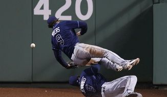 Tampa Bay Rays right fielder Wil Myers (9) and center fielder Desmond Jennings (8) collide while trying to make the play on a game-winning RBI triple by Boston Red Sox's A.J. Pierzynski during the 10th inning of a baseball game at Fenway Park in Boston, Friday, May 30, 2014. Boston won 3-2. (AP Photo/Charles Krupa)