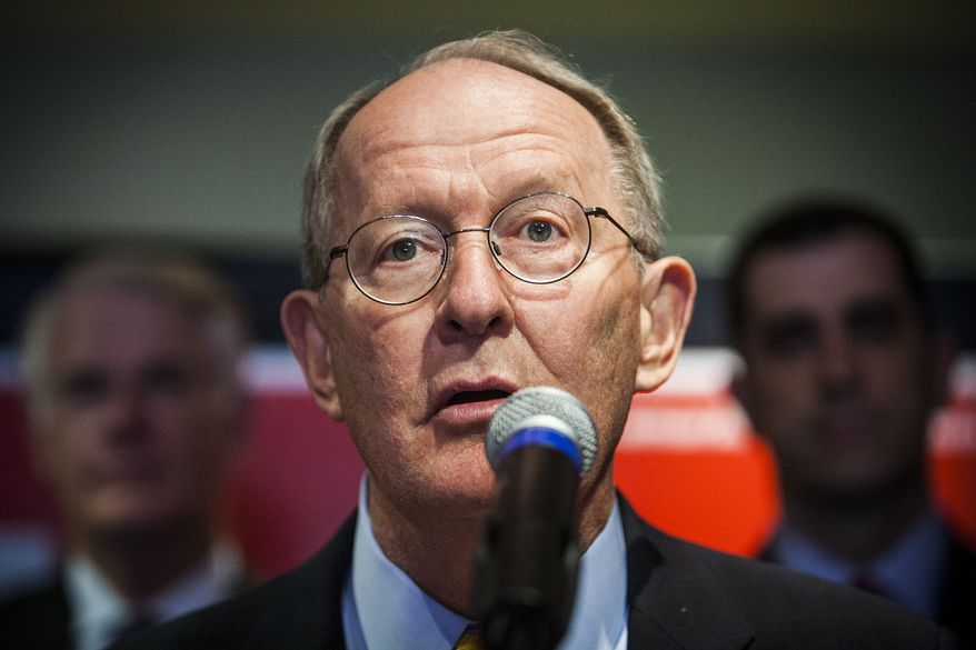 Sen. Lamar Alexander speaks to supporters during the opening of his re-election campaign headquarters Friday, May 30, 2014, in Memphis, Tenn. (AP Photo/The Commercial Appeal, William DeShazer)