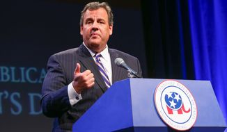 New Jersey Gov. Chris Christie delivers an address at the GOP's Statesmen's Dinner on Friday, May 30, 2014, in Nashville, Tenn. Christie told Tennessee Republicans on Friday that political discord at home has made the United States vulnerable abroad. (AP Photo/Terry Wyatt)