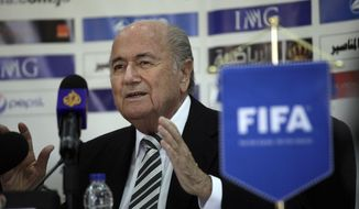 Sepp Blatter, President of FIFA, speaks during a press conference with FIFA Vice President Jordan's Prince Ali Bin al-Hussein on the first day of Blatter's regional tour to Jordan, Palestinian territories and Israel, in Amman, Jordan, Monday, May 26, 2014. During a joint press conference with Prince Ali at Jordan's Football Association office, Blatter said that his visit to Ramallah and Israel is to defend  football in Palestine and also to defend  football in Israel. (AP Photo/Mohammad Hannon)