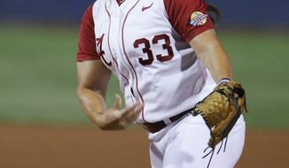 Alabama's Traina Jaclyn pitches against Oklahoma during the first inning of an NCAA Women's College World Series softball tournament game in Oklahoma City, Thursday, May 29, 2014. (AP Photo/Alonzo Adams)