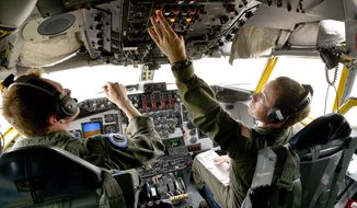 ADVANCE FOR USE SATURDAY, MAY 31 - In this photo takenon Tuesday, May 20, 2014, co-pilot Cory Evernham, right, and pilot Tyson Herbold perform a preflight check of their KC-135R air refueling tanker at 185th Air Refueling Wing of the Iowa Air National Guard in Sioux Xity Iowa. The guard unit converted from flying F-16 fighters to refueling tankers in 2003. (AP Photo/The Sioux City Journal, Tim Hynds) NO SALES, MAGS OUT,  TV OUT, MANDATORY CREDIT.