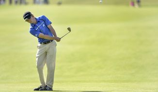 England's Eddie Pepperell  in action during the third day of the Nordea Masters at the PGA of Sweden National golf club outside Malmo, Sweden, Saturday May 31, 2014. (AP Photo / TT News Agency / Anders Wiklund)  SWEDEN OUT