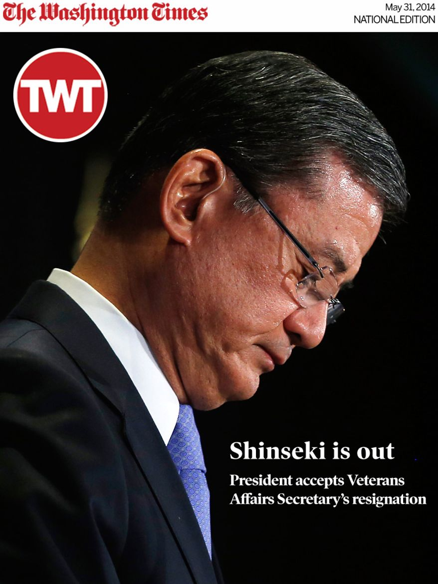 National Edition News cover for May 31, 2014 - Eric Shinseki is out! Obama sacks Veterans Affairs Secretary: Secretary of Veterans Affairs Eric Shinseki speaks at a meeting of the National Coalition for Homeless Veterans in Washington, Friday, May 30, 2014. Shinseki faces calls to resign from both Republicans and Democrats in Congress because of an escalating scandal about problems in the VA's nationwide health care system. (AP Photo/Charles Dharapak)