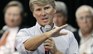 FILE - In this Aug. 28, 2006 file photo U.S. Rep. Gene Taylor, D-Miss., is shown at an appearance in Bay St. Louis, Miss.   Taylor, who spent 22 years representing south Mississippi in Congress wants his old seat back, but this time as a Republican. Steven Palazzo, who beat Taylor in 2010, aims to hold on to Mississippi's 4th Congressional District seat, which covers all of 13 counties and parts of a 14th, including the Gulf Coast and Pine Belt regions. Their rematch, this time inside the Republican primary, headlines six Congressional primaries set for Tuesday, June 3 ,2014. (AP Photo/Rogelio V. Solis, File)