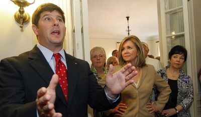 FILE - Oct. 25, 2010 file photo, State Rep. Steven Palazzo, R-Biloxi speaks about his political hopes during a 4th Congressional District campaign brunch in Laurel, Miss. Gene Taylor, who spent 22 years representing south Mississippi in Congress wants his old seat back, but this time as a Republican.  Palazzo, who beat Taylor in 2010, aims to hold on to Mississippi's 4th Congressional District seat, which covers all of 13 counties and parts of a 14th, including the Gulf Coast and Pine Belt regions. Their rematch, this time inside the Republican primary, headlines six Congressional primaries set for Tuesday, June 3 ,2014.(AP Photo/Rogelio V. Solis)