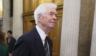 FILE - This May 14, 2014, file photo shows Sen. Thad Cochran, R-Miss., arriving for a vote at the Senate chamber on Capitol Hill in Washington. Cochran, 76, in Congress since 1973, is in the fight of his political life, a brutal, too-personal Republican primary that has drawn his bedridden wife into the melee and resulted in criminal charges against some of his opponent's supporters. (AP Photo)