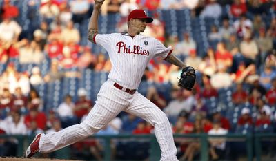 Philadelphia Phillies' A.J. Burnett pitches during the first inning of a baseball game against the New York Mets, Friday, May 30, 2014, in Philadelphia. (AP Photo/Matt Slocum)