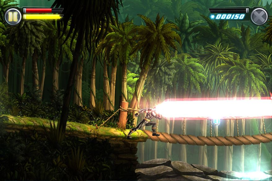 Cyclops fights in the Savage Land in the iPad video game Uncanny X-Men: Days of Future Past.