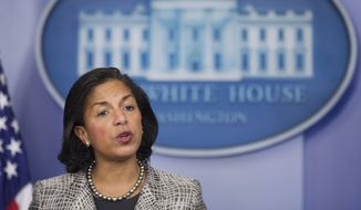 """Former National Security Adviser Susan E. Rice said the suggestion that she unmasked members of the Trump campaign or transition team for political purposes was """"absolutely false,"""" and she described her activities as routine. (Associated Press/File)"""