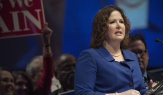 Emily Cain candidate for U.S. Senate speaks at the Maine Democratic Convention in Bangor, Maine, Saturday,  May 31, 2014. (AP Photo/Michael C. York)