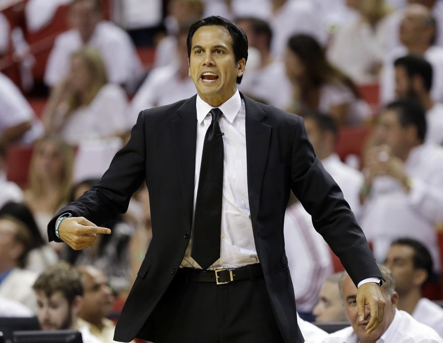 Miami Heat head coach Erik Spoelstra gestures during the first half Game 6 in the NBA basketball playoffs Eastern Conference finals against the Indiana Pacers, Friday, May 30, 2014, in Miami. (AP Photo/Lynne Sladky)