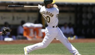 Oakland Athletics' Josh Donaldson swings for a two run single off Los Angeles Angels' Jered Weaver  in the third inning of a baseball game Sunday, June 1, 2014, in Oakland, Calif. (AP Photo/Ben Margot)