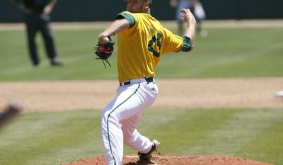Sacramento State pitcher Justin Dillon delivers during the second inning of an NCAA college baseball tournament regional game against Cal Poly on Sunday, June 1, 2014, in San Luis Obispo, Calif. (AP Photo/Aaron Lambert)