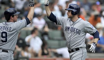San Diego Padres' Chase Headley right, celebrates with teammate Jedd Gyorko (9), after hitting a solo home run during the fifth inning of an inter league baseball game against the Chicago White Sox in Chicago, Sunday, June 1, 2014. (AP Photo/Paul Beaty)