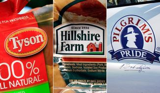 This combo made with file photos shows a package of frozen Tyson Chicken Nuggets, left, a package of Hillshire Farm sausage, center, and the Pilgrim's Pride logo on the side of a company vehicle. The board of Hillshire Brands has decided to hold separate talks with Pilgrim's Pride and Tyson Foods, as the two major meat processors engage in a bidding war for the maker of Jimmy Dean sausages and Ball Park hot dogs. (AP Photo/Paul Sakuma, LM Otero)