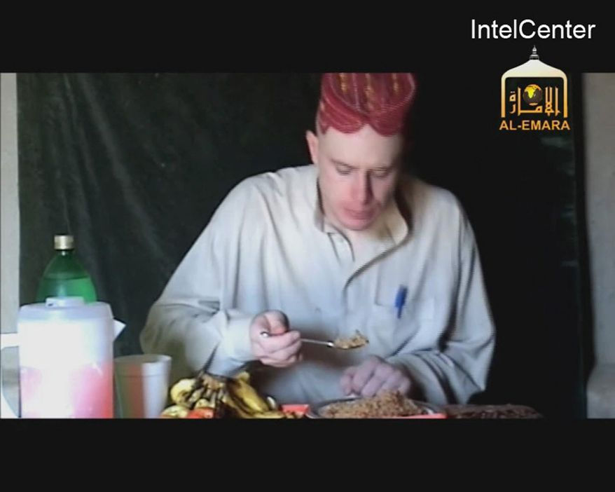 A video made available in December 2009 by IntelCenter purportedly shows Sgt. Bowe Bergdahl, who was captured months earlier in eastern Afghanistan. The man identifies himself as Sgt. Bergdahl, born in Sun Valley, Idaho, and gives his rank, birth date, blood type, unit and mother's maiden name before beginning a lengthy verbal attack on the U.S. conduct of the war in Afghanistan and its relations with Muslims. (IntelCenter via Associated Press)
