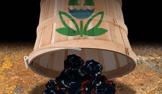 Illustration on EPA attack on U.S. coal power by Alexander Hunter/The Washington Times