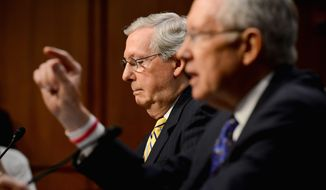 Senate Majority Leader Harry Reid (right) proposes a constitutional amendment to eliminate campaign spending. Senate Minority Leader Mitch McConnell disagrees. (Andrew Harnik/The Washington Times)