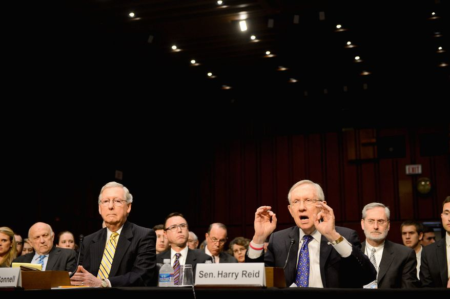 """testify at a Senate Judiciary Committee hearing on """"Examining a Constitutional Amendment to Restore Democracy to the American People"""" focusing on campaign finance on Capitol Hill, Washington, D.C., Tuesday, June 3, 2014. (Andrew Harnik/The Washington Times)"""