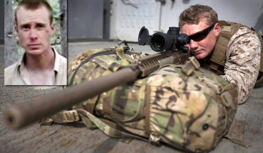 Photo illustration with U.S. Army shows Sgt. Bowe Bergdahl and a U.S. military sniper.