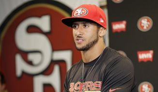 San Francisco 49ers quarterback Colin Kaepernick answers question during an NFL football press conference on Wednesday, June 4, 2014, in Santa Clara, Calif. (AP Photo/Marcio Jose Sanchez, file) ** FILE **