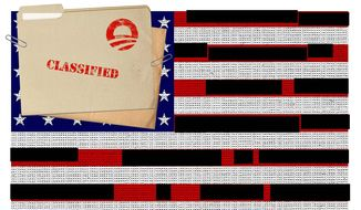 Illustration on the Obama presidency's increasing secrecy and censorship by Alexander Hunter/the Washington Times