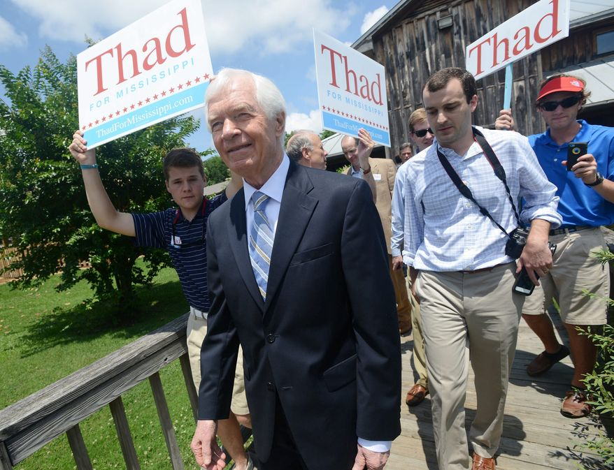 Neither Sen. Thad Cochran (right) nor Mississippi state Sen. Chris McDaniel managed to get more than 50 percent of the Republican vote and will face off in a June 24 election. (Associated Press photographs)