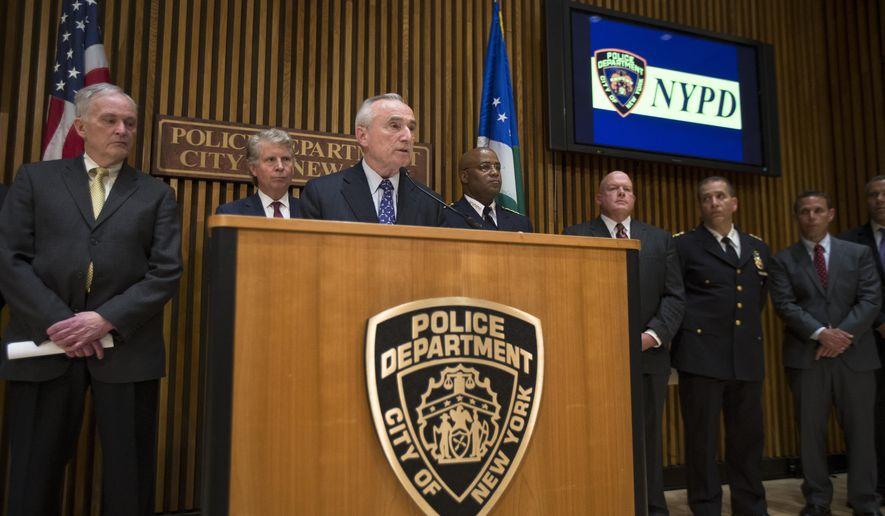 New York City Police Commissioner William Bratton speaks during a news conference at One Police Plaza, Wednesday, June 4, 2014, in New York, to announce a recent crackdown on gang-related drugs and violence. Authorities are calling the raids one of the biggest gang crackdowns in the city's recent history with dozens of suspected gang members arrested for a variety of crimes including two killings and 19 nonfatal shootings. (AP Photo/John Minchillo)