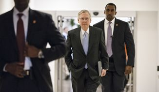 Senate Minority Leader Mitch McConnell, R-Ky., and other senators gather for a closed-door briefing with intelligence officials about the Obama administration's decision to swap five members of the Taliban for captive Army Sgt. Bowe Bergdahl, at the Capitol in Washington, Wednesday, June 4, 2014.  (AP Photo/J. Scott Applewhite)