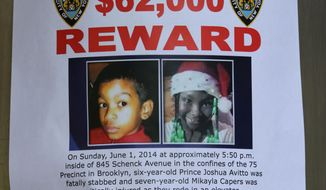 A reward poster is affixed at an entrance to the Boulevard Houses in the borough of Brooklyn in New York on Wednesday, June 4, 2014. On Sunday evening, the two children shown in the poster, were stabbed at housing complex. Six-year-old Prince Joshua Avitto, at left, was killed, and 7-year-old Mikayla Capers was critically injured.(AP Photo/Peter Morgan)