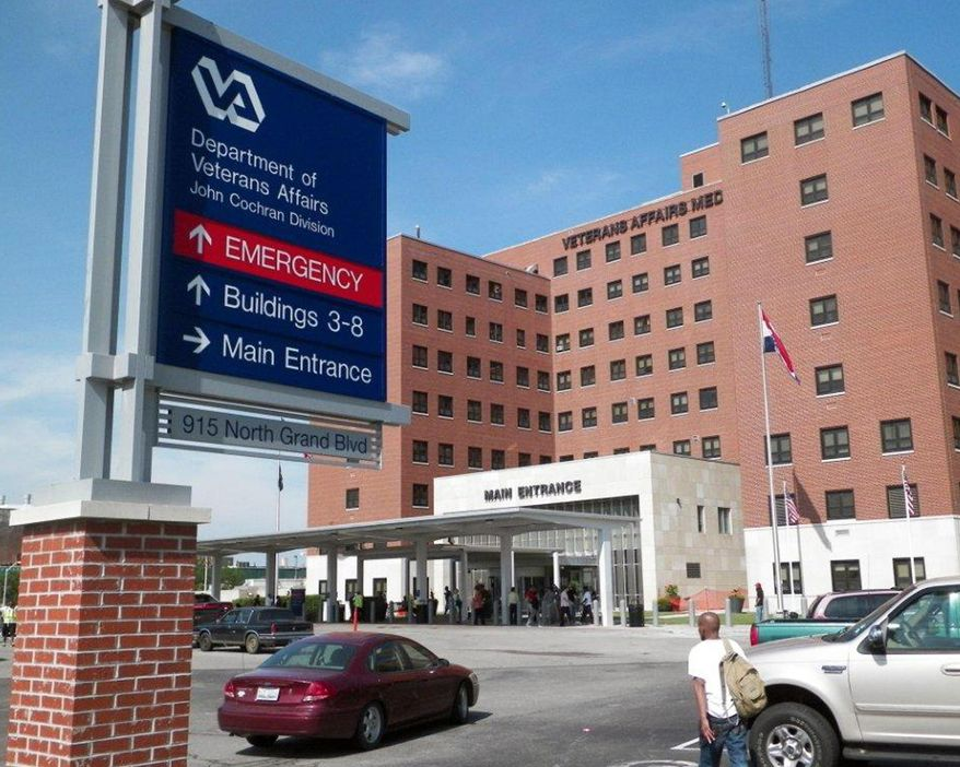 FILE - This May 29, 2014 file photo shows the St. Louis VA Medical Center. On Wednesday, June 4, 2014, Missouri Sens. Roy Blunt and Claire McCaskill say VA leaders need to be held accountable after reports that Veterans Affairs health care centers in four Midwestern states maintained secret, unauthorized waiting lists of veterans, some of whom waited for care for more than 90 days. (AP Photo/Jim Salter)