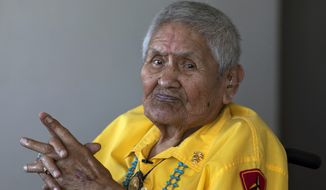 FILE - In this file photo taken June 23, 2011, Navajo Code Talker Chester Nez, 90, is photographed in Albuquerque, N.M. Nez, the last of the 29 Navajos who developed a code that stumped the Japanese during World War II. He died Wednesday, June 4, 2014, of kidney failure, said Judy Avila, who helped Nez write his memoirs. He was 93. (AP Photo/The Arizona Republic, Mark Henle) MARICOPA COUNTY OUT; MAGS OUT; NO SALES.
