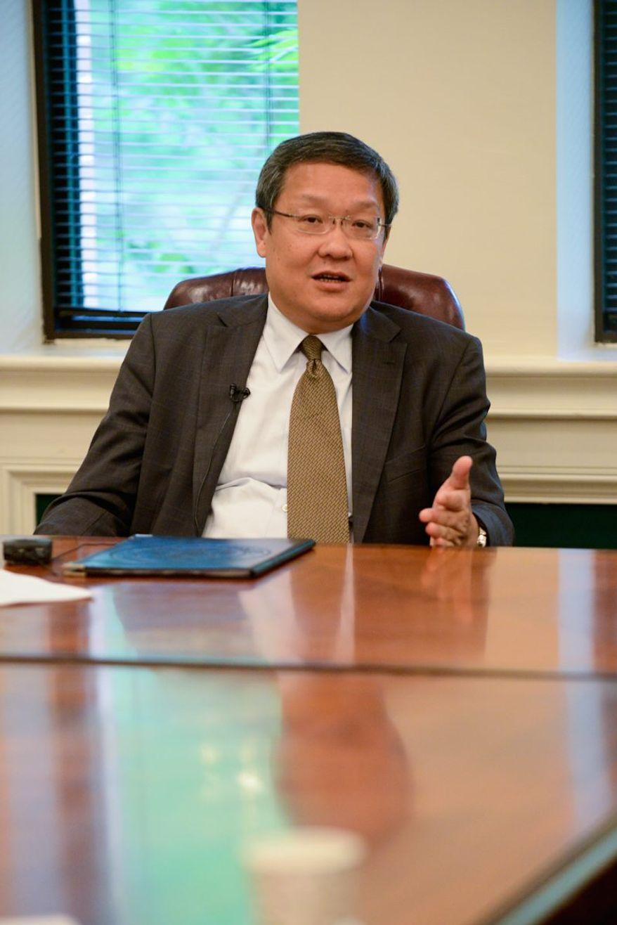 Dale Wen-Chieh Jieh, head of the department of policy planning within the Taiwanese Ministry of Foreign Affairs, meets with editors and reporters at The Washington Times. (Lloyd Villas/The Washington Times)