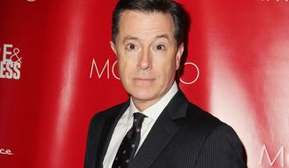 This Jan. 31, 2014 file image released by Starpix shows Stephen Colbert at the Shape Magazine and Men's Fitness Super Bowl Party in New York. (AP Photo/Starpix, Amanda Schwab, File)