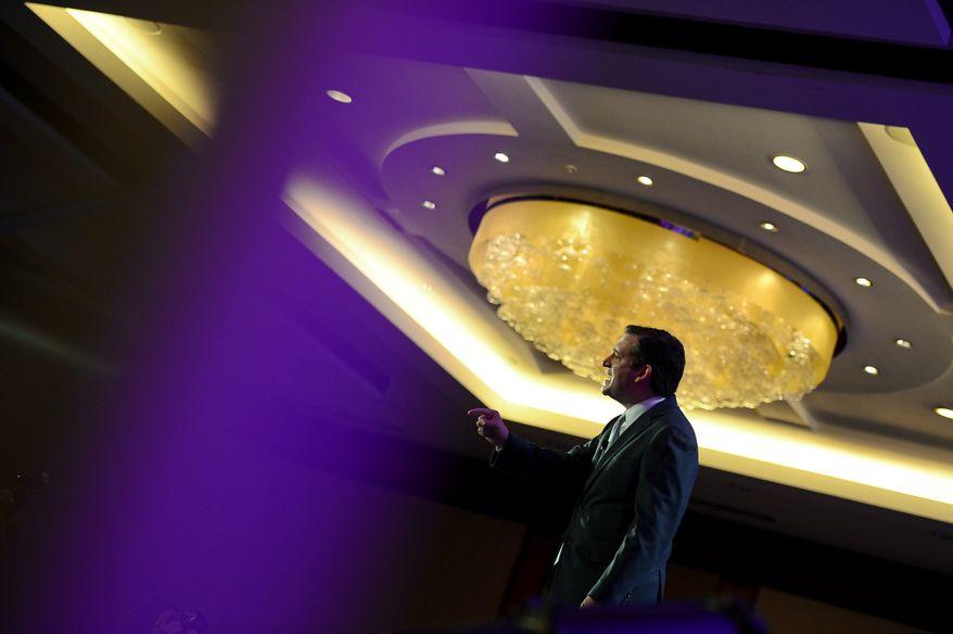 Sen. Ted Cruz (R-Texas) speaks at the Tea Party Patriots 5th Anniversary Celebration at the Hyatt Regency Capitol Hill, Washington, D.C., Thursday, February 27, 2014. (Andrew Harnik/The Washington Times)