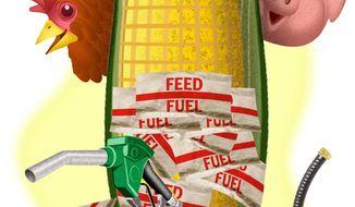 Illustration on EPA's changing biofuel standards by Alexander Hunter/The Washington Times