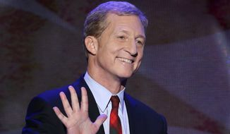 FILE - In this Sept. 5, 2012 file photo, Tom Steyer waves as he walks to the podium to address the Democratic National Convention in Charlotte, N.C. In an announcement on Friday, June 6, 2014, Steyer, a billionaire investor who has pledged to spend tens of millions of dollars targeting Republicans who reject climate change, is now creating a fund to help victims of extreme weather disasters, starting with wildfires in the American West. (AP Photo/J. Scott Applewhite, File)
