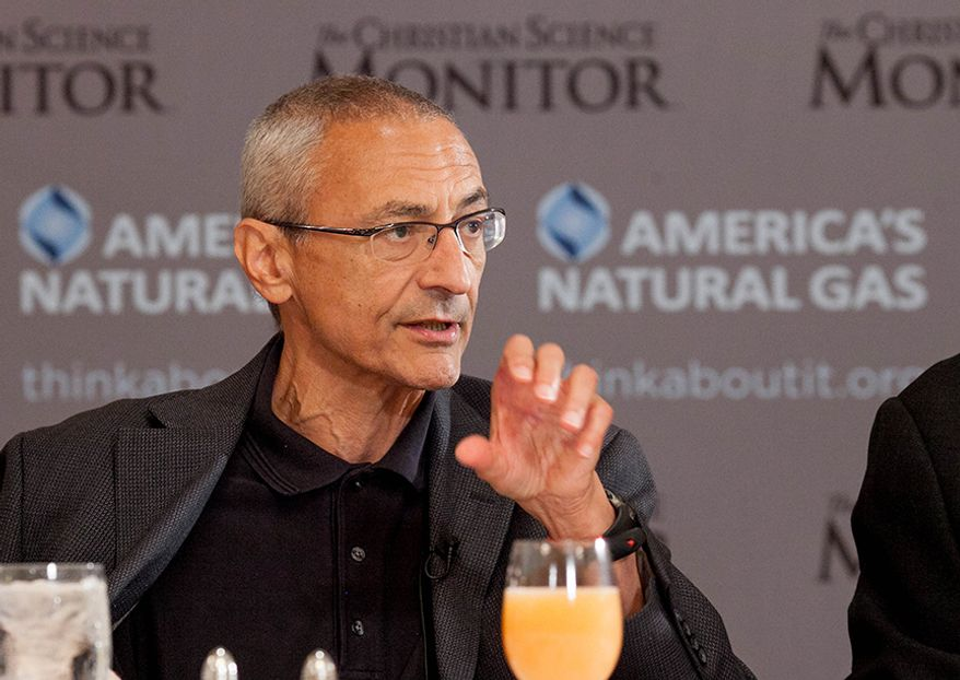White House counselor John Podesta speaks during a breakfast in Washington hosted by the Christian Science Monitor on June 6. (Michael Bonfigli/The Christian Science Monitor)