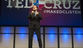U.S. Sen. Ted Cruz address delegates at the Texas GOP Convention in Fort Worth, Texas Friday, June 6, 2014.   Cruz has fired up the Texas Republican Convention, promising to lead a conservative revolution unseen since the days of Ronald Reagan. The tea party favorite is a possible 2016 presidential candidate, and seemed like one during his speech Friday before thousands of adoring delegates who gave him numerous standing ovations. (AP Photo/Rex C. Curry)
