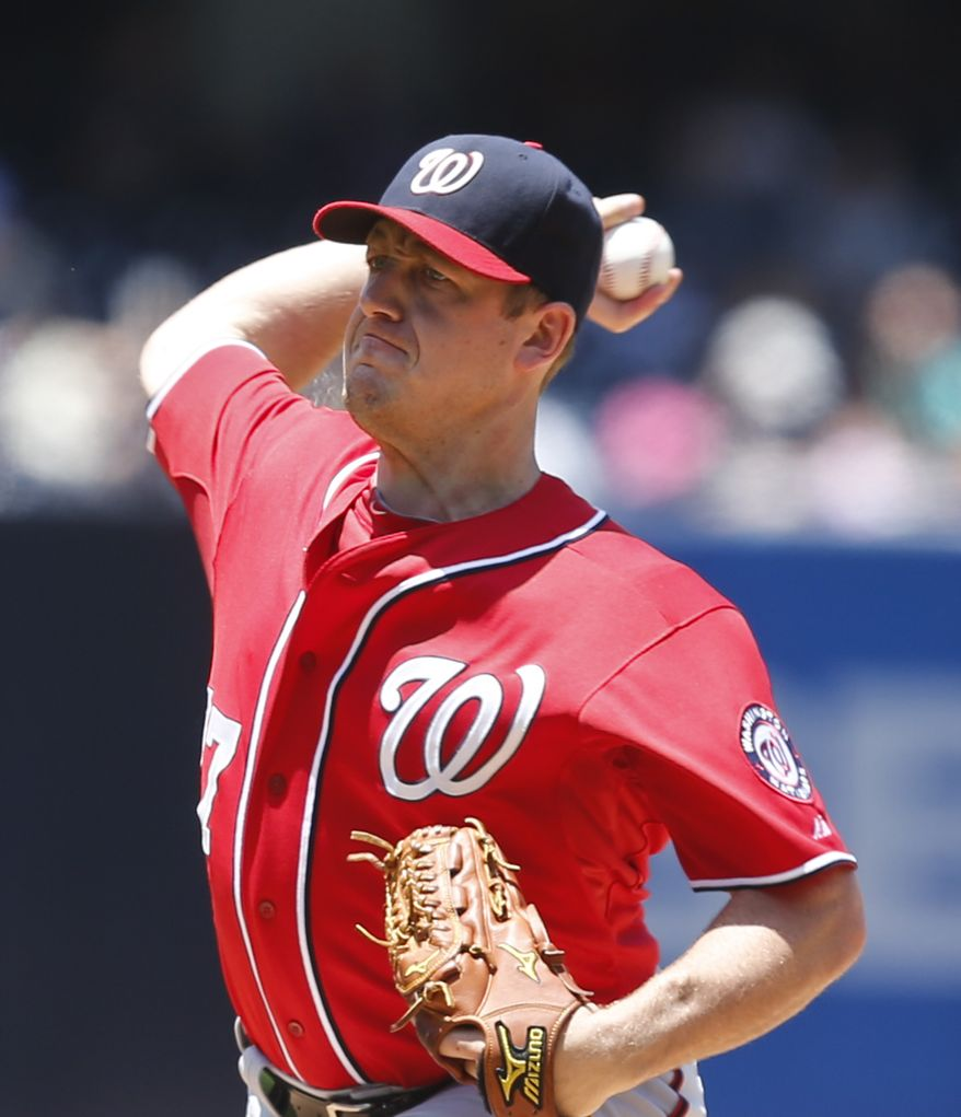 Washington Nationals starting pitcher Jordan Zimmermann throws against the San Diego Padres during the first inning of a baseball game Sunday, June 8, 2014, in San Diego. (AP Photo/Lenny Ignelzi)