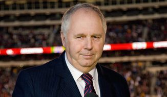 ESPN soccer play-by-play commentator Ian Darke in the booth prior to the Argentina vs. USA match on March 26, 2011 in East Rutherford, N.J. (ESPN photo)