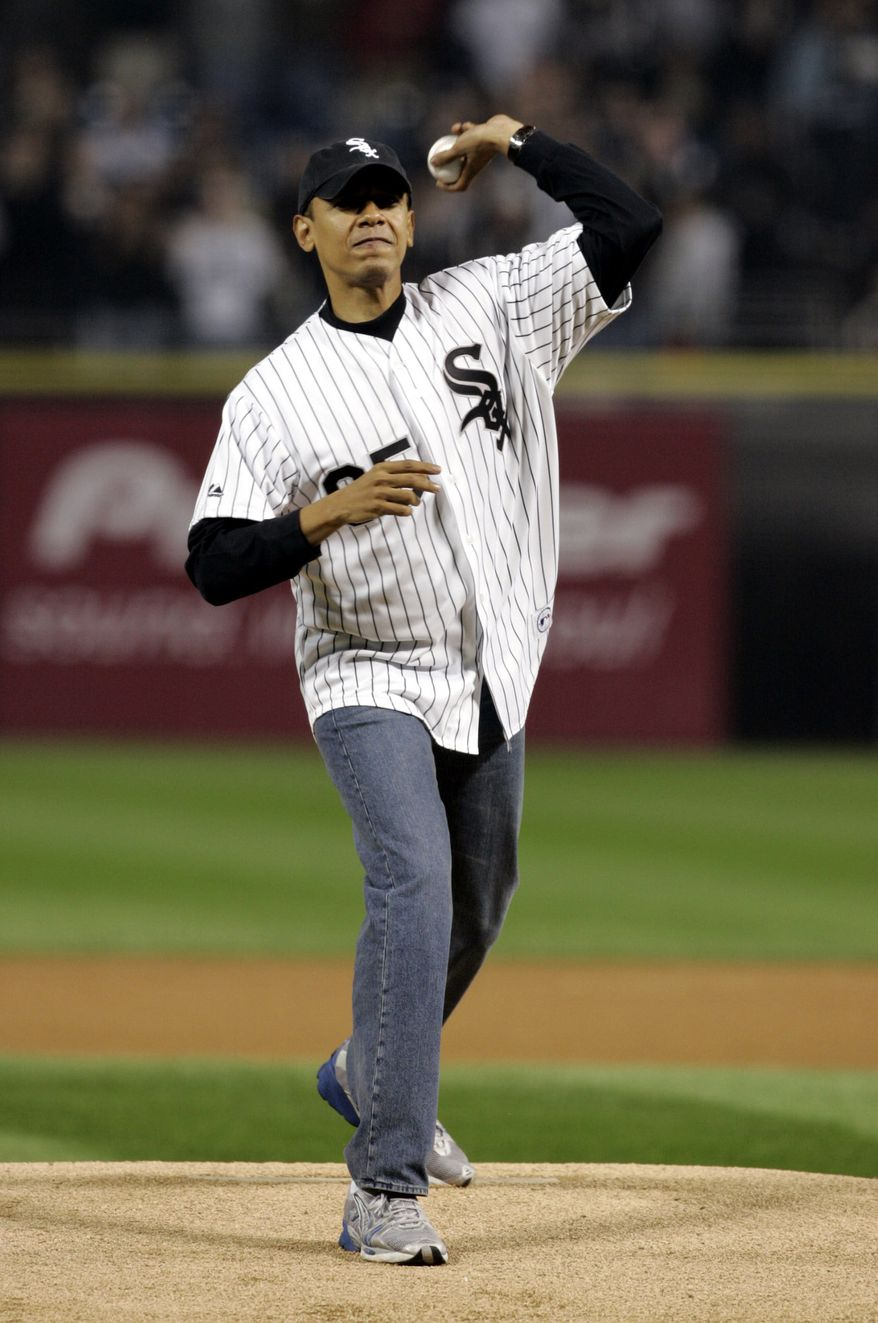 **FILE**Sen. Barack Obama, D-Ill. throws out the ceremonial first pitch before Game 2 of the American League Championship Series between the Chicago White Sox and the Los Angeles Angels at U.S. Cellular Field in Chicago, on Oct. 12, 2005. With his election to the nation's top job,  the Rangers are out, the White Sox are in, and the mountain bikes are headed for the basement. As for that White House bowling alley -- well, that hardwood might be in for a complete makeover. (AP Photo/Ann Heisenfelt)